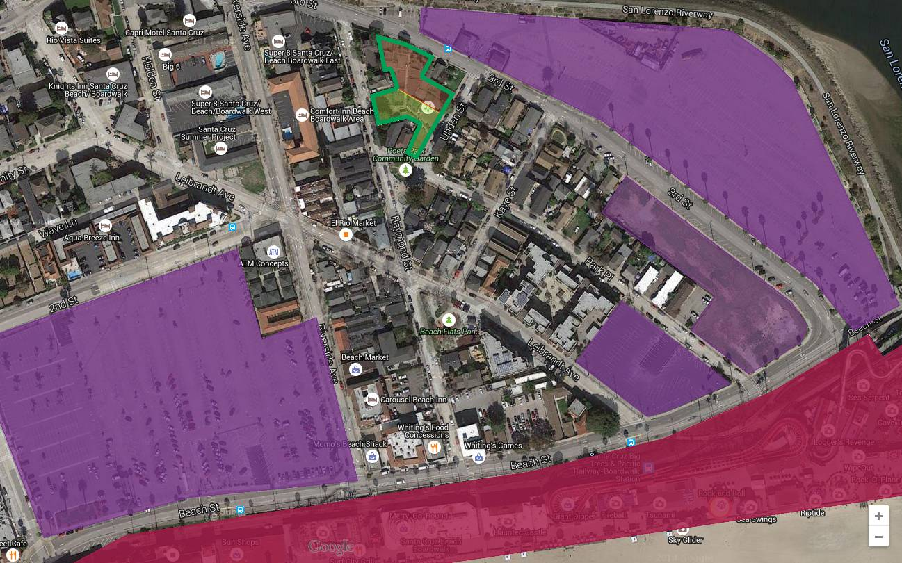 An overhead analysis by Joe Bonanno provides an elevating perspective on the situation.  In this tightly packed neighborhood of many residents and few backyards, the 0.6 acre Beach Flats Community Garden (outlined in Green) provides some refreshing green space with its host of other benefits.  The Seaside Company already benefits from about 16 acres of asphalted parking lot (Purple) in the vicinity of the garden it aims to displace. Apart from the Beach Boardwalk itself (Red), the Seaside Co. also owns a significant portion of the other business and residential parcels in the neighborhood (Unmarked).